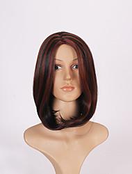 meio multi-color cor do cabelo reta peruca sintética europeu