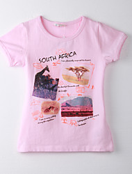 Girl's Print Tee,Cotton Summer Pink