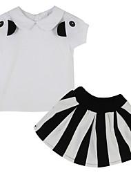 Girl's Striped Clothing Set,Cotton Summer White