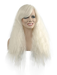 Natural Wave Long Length White Color Popular Synthetic Wig For Woman