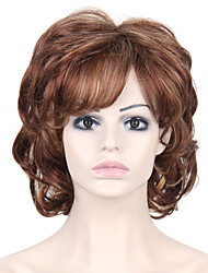 Heat Resistant Cheap Fake Hair Wig Brown Short Curly Synthetic Wigs for Women