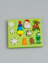 Christmas Tree Snowflake Deer Snowman Silicone Mold Fondant Cake Decoration Tools Chocolate Mold Kitchen Accessories