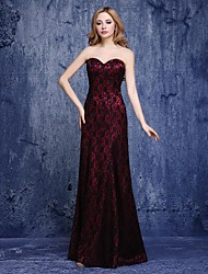 Formal Evening Dress A-line Sweetheart Floor-length Lace with Lace