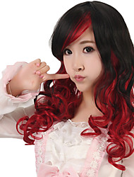 24 inch Women Long Body Wave Synthetic Hair Wig Cosplay Black Ombre Red Capless with Free Hair Net