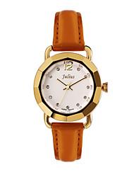 Julius® Fashion Vintage Special Design Women Watch Leather Belt Schoolgirl Quartz Wristwatch JA-801