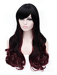 Most Popular Long Size Multi-color Black Mix Burgundy Curly Hair Synthetic Wigs