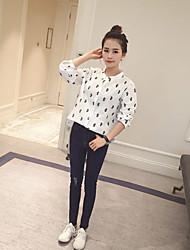De las mujeres Estampado Camisa-Escote Chino-Poliéster-Manga Larga