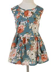 Menina de Vestido Floral Algodão Verão Azul
