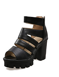 Women's Shoes Leatherette Chunky Heel Heels / Peep Toe / Platform / Fashion Boots Sandals Office & Career / Dress / Pink