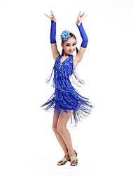 Danse latine Robes Enfant Spectacle Elasthanne Polyester 6 Pièces Sans manche Taille haute Robe Gants Coiffures