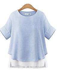 Mulheres Blusa Casual Plus Sizes / Simples / Moda de RuaPatchwork Azul / Cinza Raiom Decote Redondo Manga Curta Fina