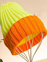 Women Fluorescent Color Stitching Small Speakers Wool Knit Cap
