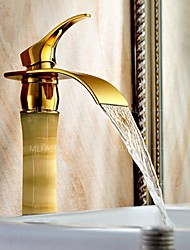 Waterfall  Stone Jade Solid Brass Copper Gold Single Handle  Heightening Bathroom  Basin  Faucet