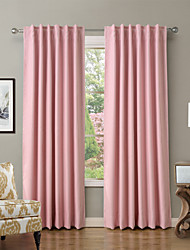 Solid Thermal Insulated Blackout Curtain Drape - Back Tab / Rod Pocket - Olive, Sky Blue, Pink  (Set of 2 Panels)