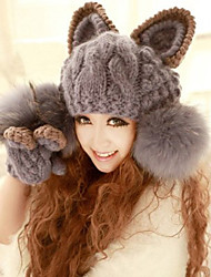 Devil Angle Orecchiette Knitted Big Ball Of Gray Wool Warm Hat
