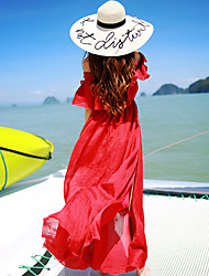 Women's Off The Shoulder Street chic Solid Swing Dress,Off Shoulder Maxi Polyester