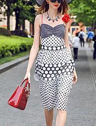 prase Frauen einfache polka dot Etuikleid, Riemen knielangen Polyester