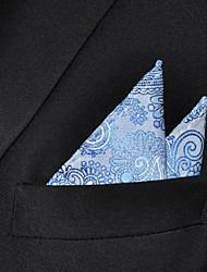 Men Light Blue  Paisley 100% Silk  Pocket Square Business Fashion