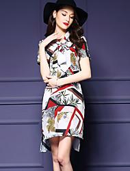 Women's Street chic Print Plus Size / Loose Dress,V Neck Asymmetrical Silk