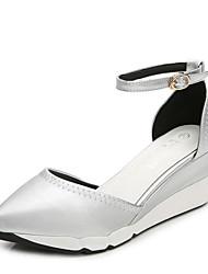 Women's Shoes PU Wedge Heel Wedges / Comfort Sandals Dress Black / Silver