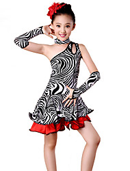 Shall We Latin Dance Dresses Children Performance Spandex / Polyester Zebra Print Off Shoulder Dance Costumes