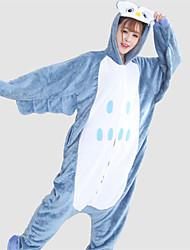 Kigurumi Pyjamas Eule Gymnastikanzug/Einteiler Fest/Feiertage Tiernachtwäsche Halloween Weiß / Blau Patchwork Flanell Kigurumi Für Unisex