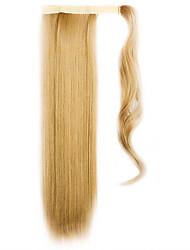 золотой 60см синтетическая высокая температура проволоки парик прямые волосы конский хвост цвет 27x