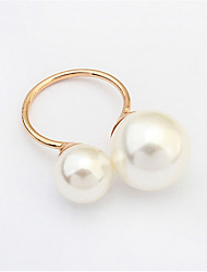 Fashion Simulated White Pearl Ring for Women Gold Silver Plated Adjustable Rings