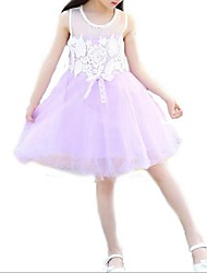 Girl's Pink / Purple Dress,Jacquard Polyester Summer
