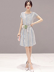 Women's Simple Striped A Line / Shirt Dress,Round Neck Mini Polyester