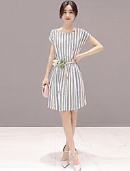 De las mujeres Línea A / Camisa Vestido Simple A Rayas Mini Escote Redondo Poliéster
