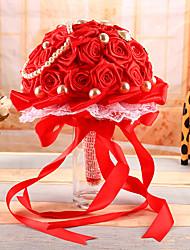 """Bouquets de Noiva Redondo Rosas Buquês Casamento Cetim 7.09""""(Aprox.18cm)"""