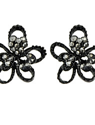 Gothic Style Black Small Flower Earrings