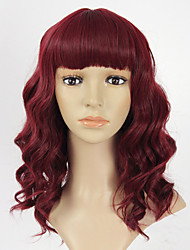 Top Quality Burgundy Long Wavy Curly Synthetic Wigs