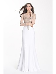 Formal Evening Dress Trumpet / Mermaid Scoop Floor-length Satin with Appliques / Lace