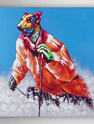 Hand Painted Oil Painting Animal The dog In The Ski with Stretched Frame 7 Wall Arts®