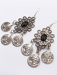 Flowers  Fashion Retro Round  Individuality Coin Earrings