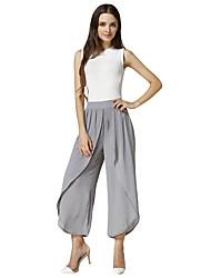 Woman Chiffon Wide Leg Pants Ruched Loose Elastic Waist Elegant Casual Trousers