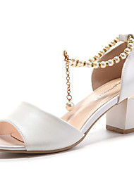 Women's Shoes Leatherette Low Heel Heels / Peep Toe Sandals Wedding / Office & Career / Dress Pink / White