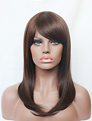 Fashion Long Straight Sexy Side Bangs Brown Synthetic Hair Full Wig for Black Womens