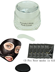 PILATEN 1 Pcs Neck Cream Go Neck Grain Moisturizing Anti-wrinkle Nursing Care + 5 Pcs Nose Mask Gifts