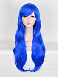 longue couleur bule cheveux raides perruque synthétique européenne