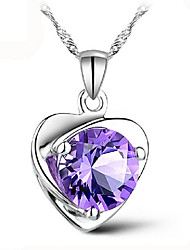 2016 Top Classic Lady Fashion Heart Pendant Necklace Amethyst Crystal Jewelry New Girls Women