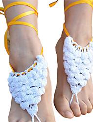моды слой каскад женщин складки вязания крючком хлопка стопы ножной браслет босиком сандалии
