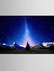 E-HOME® Stretched LED Canvas Print Art Starlight And Snow Mountain LED Flashing Optical Fiber Print One Pcs