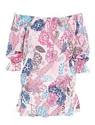 Mulheres Blusa Praia Sensual / Moda de RuaEstampado Rosa Poliéster Decote Canoa Meia Manga Fina