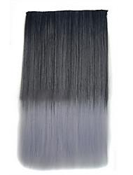Clip 26 pollici in colore grigio estensioni dei capelli dritti neri sintetici con 5 clip