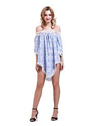 Women's Sexy / Beach Geometric Loose Dress , Strapless Above Knee Cotton
