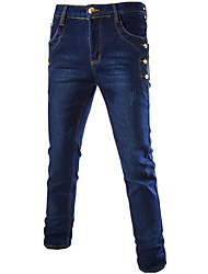 Men's Casual Slim Decorative Buttons Stone Washed Jeans,Casual / Plus Sizes Solid Cotton / Polyester