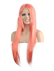 Natural Long Length Pink Color Popular Straight Synthetic Wig For Woman